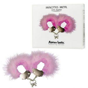 Esposas menottes plumas rosas metalicas de la marca adrien lastic, egolala eroteca valencia
