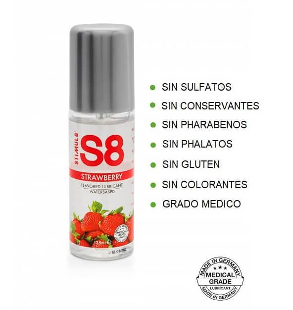 S8 Lubricante Sabor FRESA 125ml de la Novedosa Marca STIMUL8 Egolala Eroteca Valencia-2