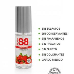 S8 Lubricante Sabor FRESA 50ml de la Novedosa Marca STIMUL8 Egolala Eroteca Valencia-2